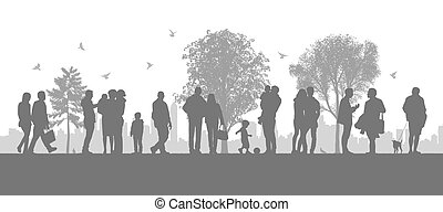 people in the city parc - illustration of a panoramic urban...