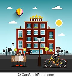 People in the City with Skyline on Horizon. Hotel Building on Background. Flat Design Vector Illustration.