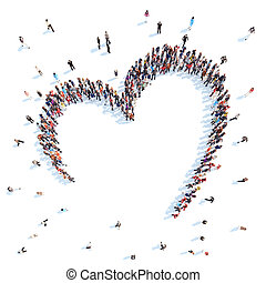 People in the form of hearts. - Large group of people in the...