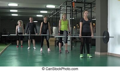 people in the gym synchronously lift heavy weight - Young...
