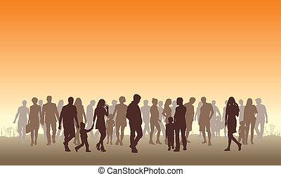 People in the horizon - Illustration of silhouettes of ...