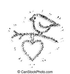 people in the shape of a bird, heart. - A group of people in...