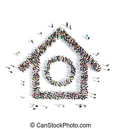 people in the shape of birdhouse. - A large group of people...
