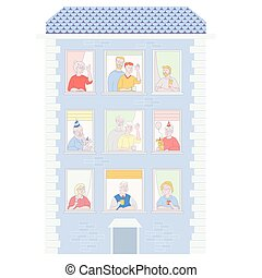 People in the window frames. Neighbors who live in apartments. Residential building with open windows and different people and holiday. Everyone is funny, with cups and happy birthday drink. Birthday boy with a dog in a cap and with a balloon. To stay home. Self-isolation. Vector illustration.