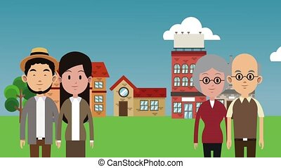 People in town HD animation - People living in the town High...