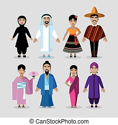 People in traditional costumes. Mexico, Japan, India, Middle East