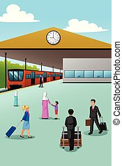 People in Train Station Illustration