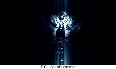 People in underground tunnel looking for exit with light.