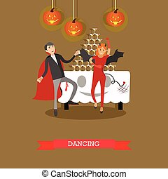 People in vampire and bat costumes party. Happy halloween holiday concept posters. Vector illustration in flat style design