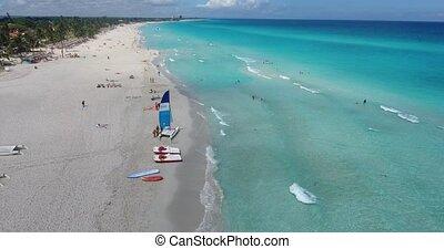 People In Varadero Cuba Caribbean Sea Beach From Sky