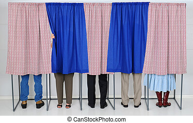 People in Voting Booths - A row of five voting booths with...