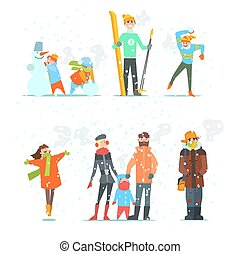 People in Winter and Activities. Vector Illustration. -...