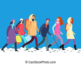 People in winter clothes. Cartoon man and woman, teenagers walking in cold season