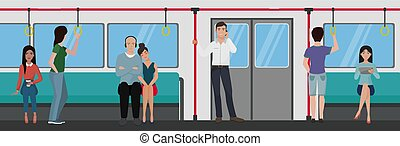 People inside a subway train. People metro transportation concept.