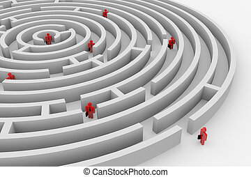 People into the round maze. Search of solution. Teamwork. ...