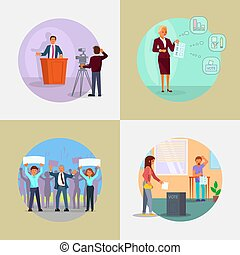 People involved in election process vector flat illustration