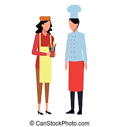 People Job And Occupation Women Chef And Gardener Avatar Vector
