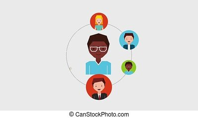 people job related - afro american man cartoon around people...