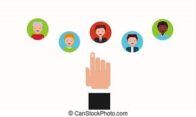 people job related hand choosing people work animation hd