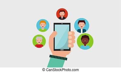 people job related - people job hand holds smartphone...