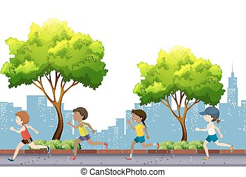 People jogging in the park