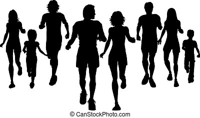 Silhouettes of people jogging