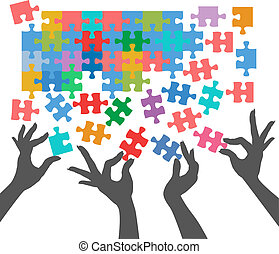 People join to find puzzle connections - Female hands work ...