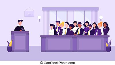 People, judge and courthouse in jury trial concept - ...