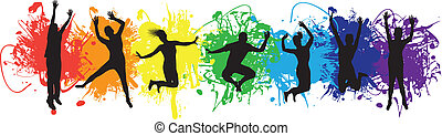 people jumping on rainbow ink splash background