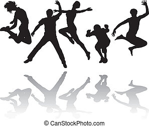 People jumping - Silhouettes of young people jumping