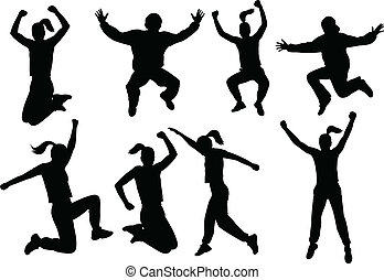 People jumping silhouettes