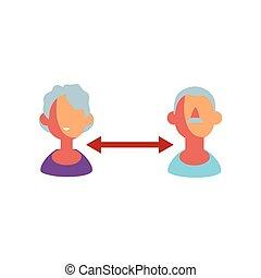 people keep distance sign on white background vector illustration design