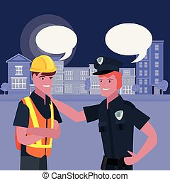 people labour day - builder and policeman labour day vector...