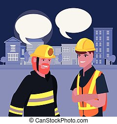people labour day - builder fireman employee labour day...