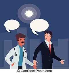 people labour day - doctor and businessman labour day vector...