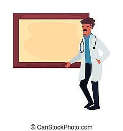 people labour day - doctor with board labour day vector...
