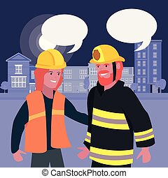 people labour day - female builder and fireman labour day...