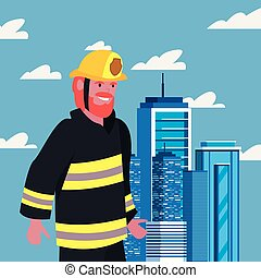 people labour day - fireman with board labour day vector...