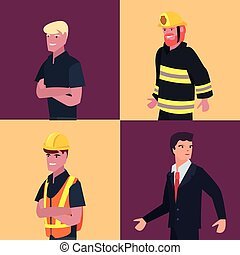 people labour day - people profession labour day set vector...