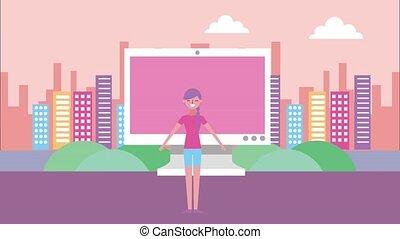 people landscape animation