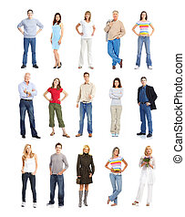People - Large group of people. Isolated over white...