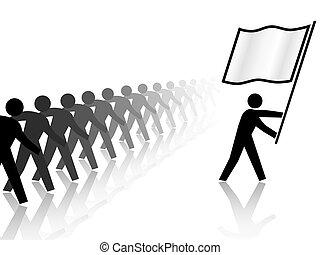 People Leader Carries Flag Forward - A leader flag carrier...