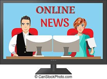 People leading news on TV.