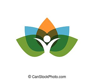 people leaf green nature health logo and symbols