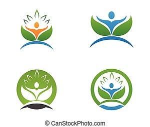 people leaf green nature health logo and symbols