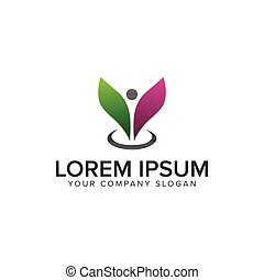 people leaf Logo. beauty spa design concept template