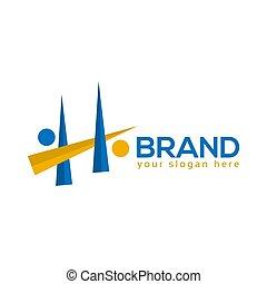 People Letter H Logo. Vector Illustration on white background