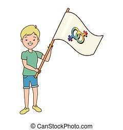 happy woman with flag lgbt pride vector illustration
