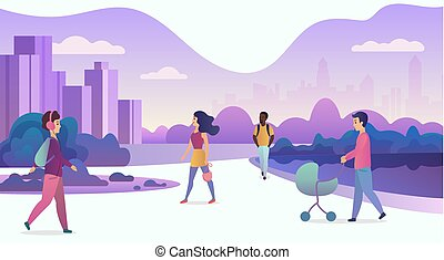People life in modern eco city. Walking people in modern park with skyscrapers on the background. Trendy cartoon gradient color vector illustration.