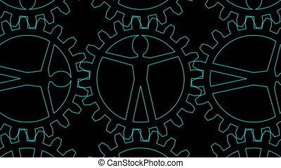 People like gears - company, work, individuality - Animation...